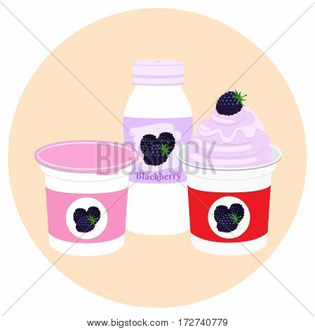 Yogurt healthy cream milk product in plastic container and bottle. Milky nutrition diet with blackberry, organic food with berries.
