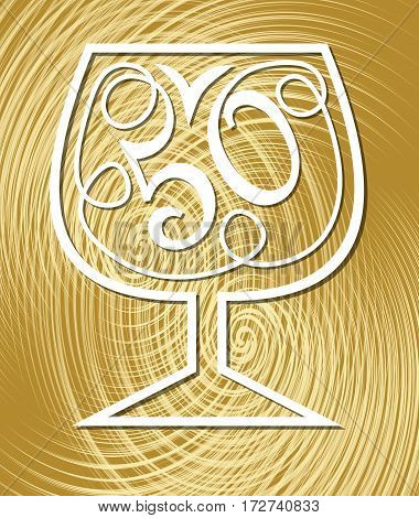 Anniversary celebration on elegant gold textured background. Monoline drawing on golden background. Stylized number 50 in a wine glass fiftieth birthday celebration.