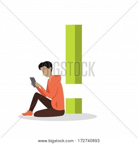 Gadget alphabet. Exclamation point. Boy with tablet sitting near sign. Modern youth with electronic gadgets. Social media network connection. Simple colored letter and people with electronic devices