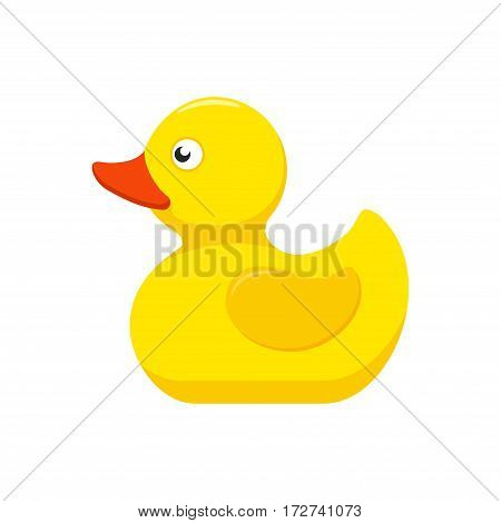 Rubber duck bath toy in flat style isolated on white background. Vector illustration