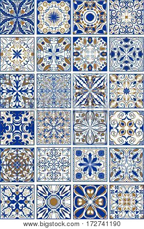 Mega set of traditional spanish or portuguese ceramic and pottery ornamental tiles in indigo and golden design.