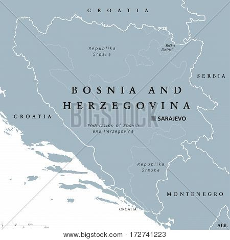 Bosnia and Herzegovina political map with capital Sarajevo. Country in Southeastern Europe located on the Balkan Peninsula. Gray illustration with English labeling on white background. Vector.