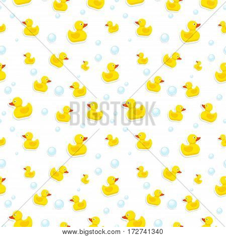 Rubber duck and bubbles seamless pattern bath toy on white background. Vector illustration