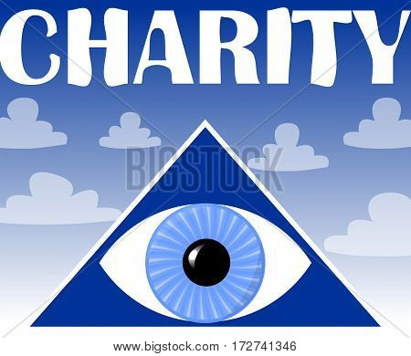Charity flyer with a symbol of God's eye in triangle. Blue background with clouds. Poster for christian charity events.