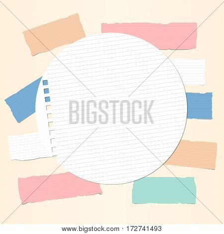 Colorful ruled note, notebook, copybook paper strips with round paper sheet in centre.