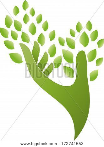 Hand and leaves, hand as a tree, naturopath and nature logo