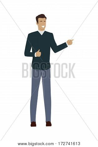 Young businessman character showing thumb up. Brown-haired person in blue sweater and gray pants. Man personage in front. Isolated vector illustration on white background.