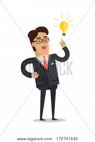 Business man with a bulb isolated on white. Businessman with ideas. Happy funny cartoon character. Male in expensive suit with lightbulb over his head. Vector illustration in flat design style