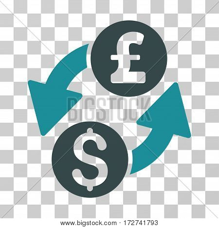 Dollar Pound Exchange icon. Vector illustration style is flat iconic bicolor symbol, soft blue colors, transparent background. Designed for web and software interfaces.