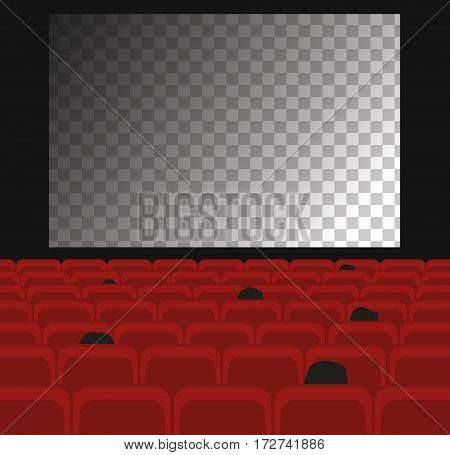 Cinema auditorium with transparent screen and red seats.
