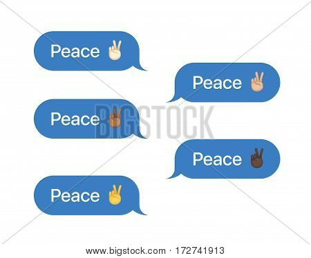 Set of SMS bubbles messages with dialog words and emoji. Vector illustration. Piece word and gesture