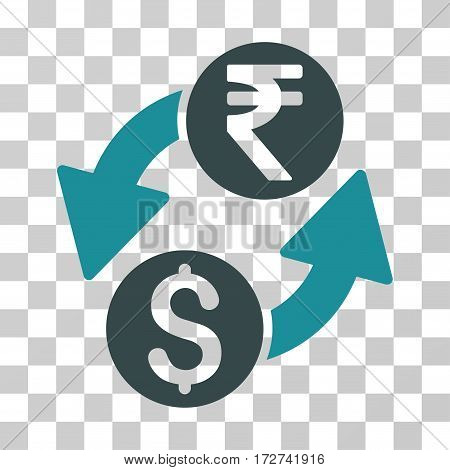 Dollar Rupee Exchange icon. Vector illustration style is flat iconic bicolor symbol, soft blue colors, transparent background. Designed for web and software interfaces.