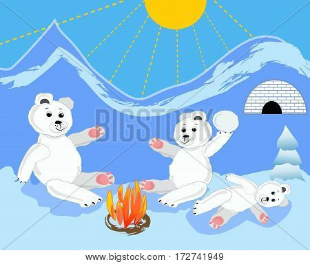 Ice bear cubs with mother by bonfire. Ice bears by igloo. Ice bear sitting. Ice bear baby lying. Cute ice bear illustration. Ice bear in ice landscape.