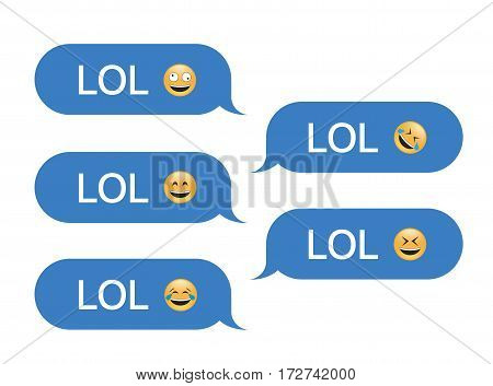Set of SMS bubbles messages with dialog words and emoji. Vector illustration. Lol word and gesture