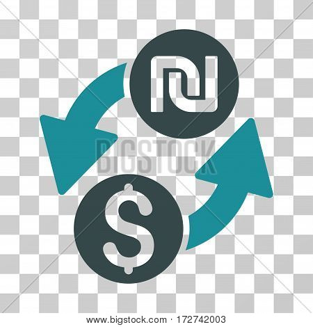 Dollar Shekel Exchange icon. Vector illustration style is flat iconic bicolor symbol, soft blue colors, transparent background. Designed for web and software interfaces.