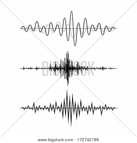 Music sound waves set isolated on white background. Audio equalizer technology, pulse musical. Vector illustration