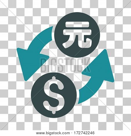 Dollar Yuan Exchange icon. Vector illustration style is flat iconic bicolor symbol, soft blue colors, transparent background. Designed for web and software interfaces.