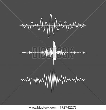Music sound waves set isolated on gray background. Audio equalizer technology, pulse musical. Vector illustration