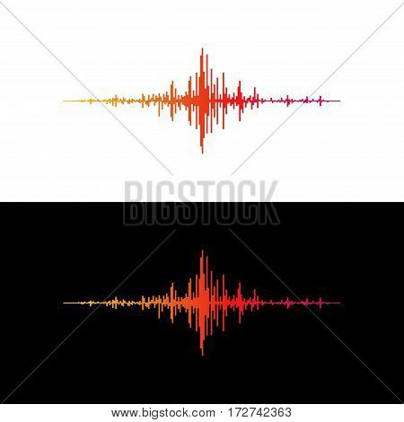Colorful music sound waves isolated on white and black background. Audio equalizer technology, pulse musical. Vector illustration