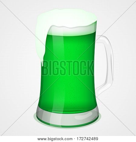 Glass of green beer for Saint Patricks Day. Simbol or icon for St. Patrick's day in simple cartoon style. Vector illustration. Holiday Collection.