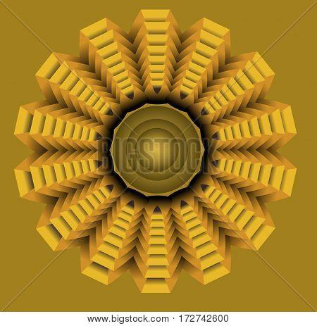 Yellow star in op art style golden symmetric circle element