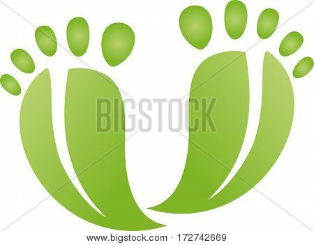 Two feet, leaves as feet, foot care logo