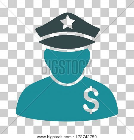 Financial Policeman icon. Vector illustration style is flat iconic bicolor symbol, soft blue colors, transparent background. Designed for web and software interfaces.