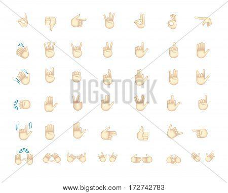 Gestures emoji vector. Smile icon set. Emoticon icon web.