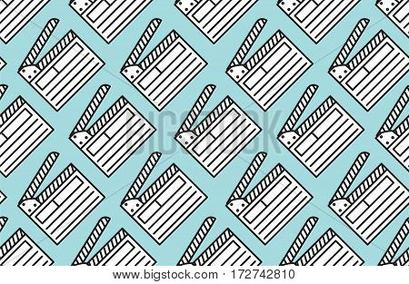 Seamless pattern with open movie clapperboard on blue background