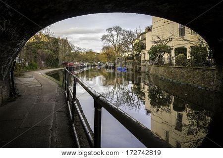 British Canal With Houseboats