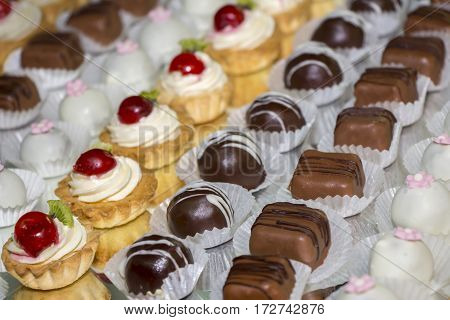 Many variety chocolate pralines and other sweets