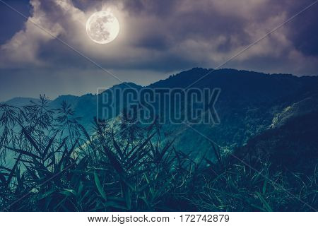 Mountain Peaks With Sky And Beautiful Full Moon.