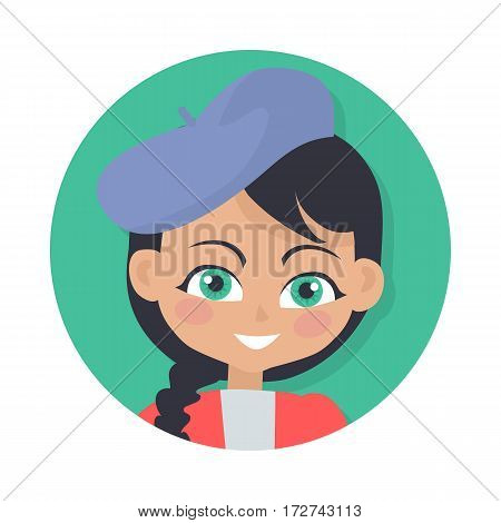 Smiling girl with black braid avatar userpic. Dark forelock. Blue hat. Portrait of nice female person in red blouse. Green eyes. Adorable girl with plait. Simple cartoon style. Flat design. Vector