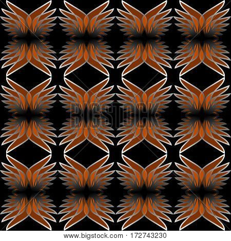 Wing patterns in transparent orange design. Seamless abstract ornament on black background. Repeating wings in mirror position.