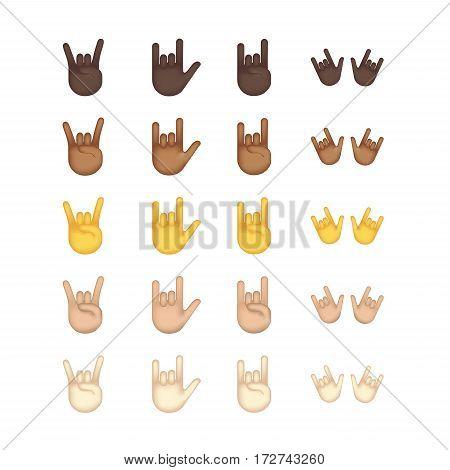 Gestures emoji vector. Smile icon set. Emoticon icon web. Rock gesture