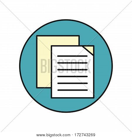 Sheet white paper with list. List icon. Flyer icon. Leaflet icon. Business design element. Design element, sign, symbol, icon in flat. Isolated object on blue background. Vector illustration.