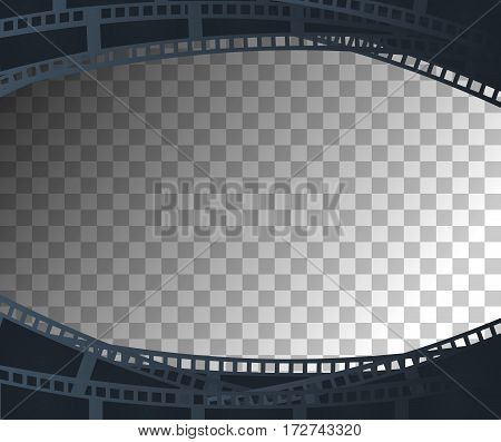 Background with retro filmstrip or movie reel with transparent effect