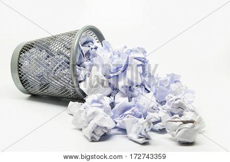 Garbage Bin With Paper Waste