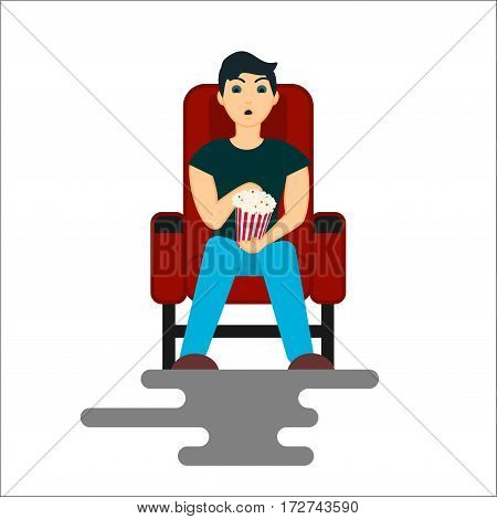 Young man watching movie in the Cinema with popcorn bucket. Vector Illustration isolated on white background