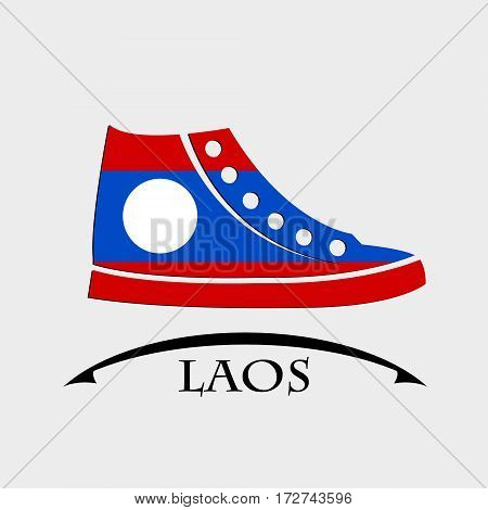 shoes icon made from the flag of Laos