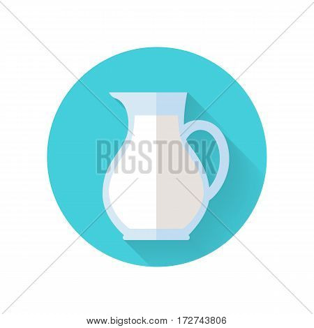 Glass jug with milk. Milk container. Farm food. Milk icon. Retail store element. Simple drawing in flat style. Isolated vector illustration on white background.