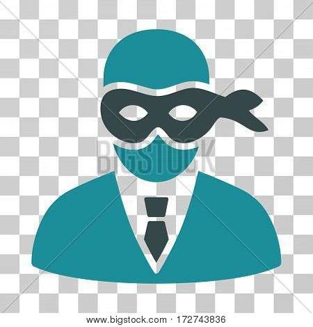 Masked Thief icon. Vector illustration style is flat iconic bicolor symbol, soft blue colors, transparent background. Designed for web and software interfaces.