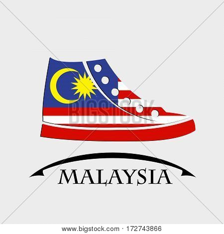 shoes icon made from the flag of Malaysia