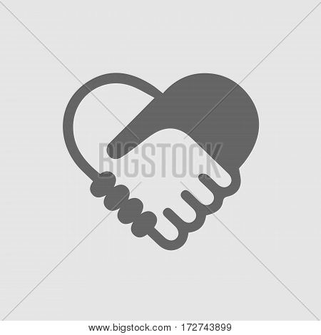 Hands shaking forming a heart vector icon EPS 10. Simple handshake isolated logo symbol.