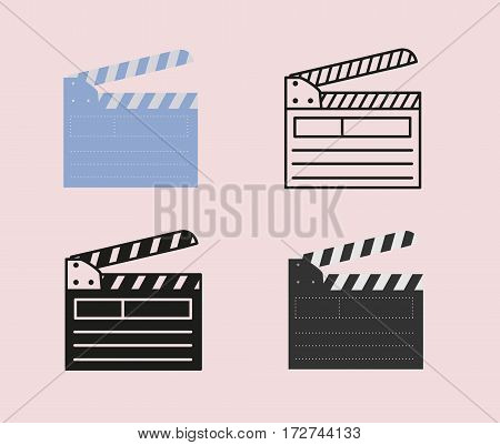Open movie clapperboard icon set.. Vector illustration