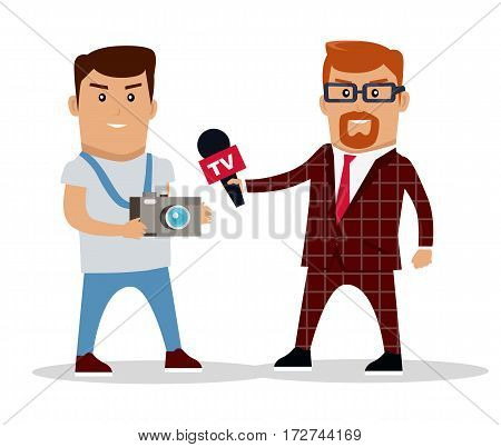 Media workers character vector. Flat style design. TV journalist, photographer, reporter illustration. Live broadcast, breaking news concept. Journalistic profession. Isolated on white background.