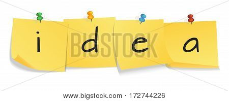Yellow sticker set pinned push button with curled corner and sign idea isolated on white background. Idea concept. Vector illustration