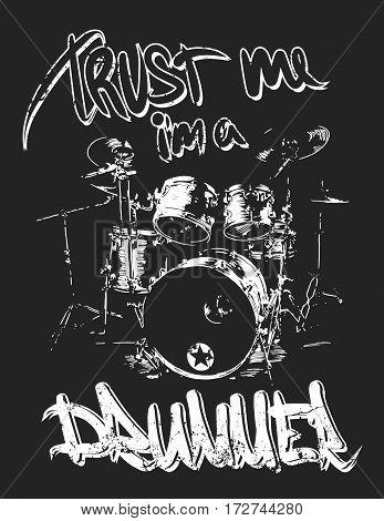 Graphics for Apparel drummer t-shirt design vector