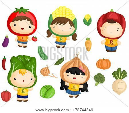 Vegetable Kids with many type of vegetable