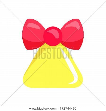 Christmas big yellow bell with red ribbon isolated. Red bow. Bell in triangular shape. Round brinks beneath xmas ringer. Comic illustration in 80s 90s style. Simple cartoon design. Flat style. Vector